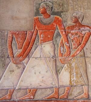 Beeldmerk voor routebeschrijvingen een voorstelling uit de mastaba van Mereroeka, Sakkara