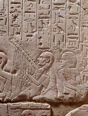 Het lied van de blinde harpspeler in het graf van Paätonemheb dateert oorspronkelijk uit de Tweede Tussenperiode - Rijsksmuseum van Oudheden Leiden
