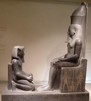Beeldmerk voor contact. Horemheb offert aan Atoem, Luxor Museum