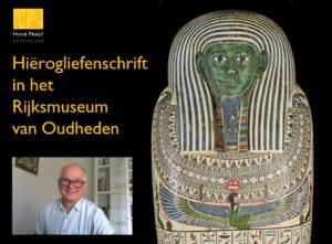 Egyptoloog Huub Pragt tijdens een virtuele rondwandeling in het Rijksmuseum van Oudheden te Leiden.