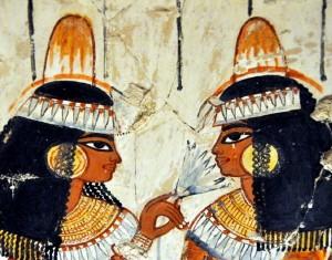 Dames in het graf van Nebamon - British Museum Londen. Dit soort voorstellingen worden getoond tijdens masterclasses